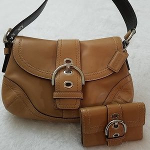 Coach Soho Leather buckle flap bag with wallet